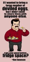 Ron Swanson: Deviled Eggs. by Crazyskull