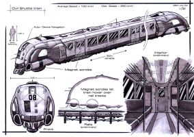 :Civil Shuttle Train_concept: by Hideyoshi