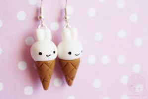 Bunny Ice-cream earrings by kukishop