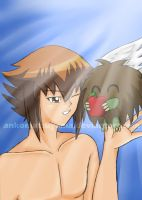 AT: Judai and Winged Kuriboh by ankomatsuyama
