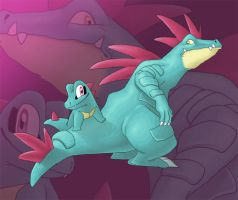 Totodile and Feraligatr by BlackyD