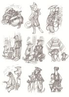 Sketch dump - Hunting Foxes (Collab) by Sleyf