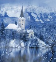 Winter Castle 2 premade background by AngelaHolmesStock