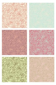 Seamless flower patterns. by JuliaPainter