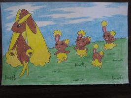 Lopunny and her Bunearys :3 by BlazingSoul96