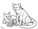 Cat Family Lineart by coywolfe