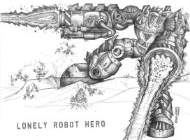 Lonely Robot Hero by wiledog