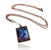 Handmade Resin Pink Blue Galaxy Copper Necklace by crystaland