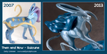 Then and Now : Suicune Sculpt by emilySculpts