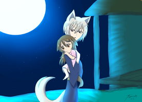 Tomoe holds his Daughter Kami by Amy-Oh