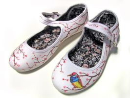 womens painted canvas shoes by FadomLord