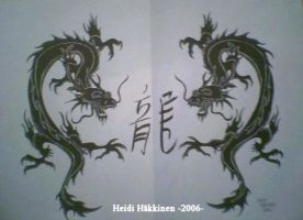 Chinese dragons -blackmarker- by Heithwen