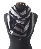Scarf in Cotton Jersey - Infinity - Black Grey Str by LiliaVanini