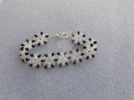 Black and clear AB delicate floral bracelet 292b by Quested-Creations