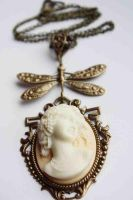 Dragonfly cameo necklace by Pinkabsinthe