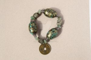 Chinese Coin and Patina Barrel Bracelet by BeautifulEarthStudio