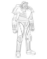 Retro Power Armor Lineart by calebcleveland