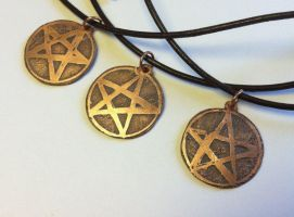 Lots of Etched Copper Pentacle Necklaces by MoonLitCreations