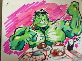 Hulk eat!!!!!!!!!!! by bunleungart
