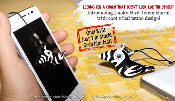 For Sale:Lucky bird totem charm with tribal tattoo by emmil