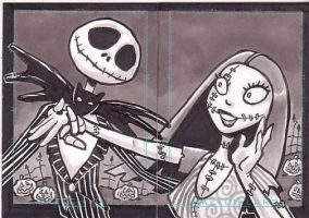 Jack and Sally - sketchcards by Steevcomix
