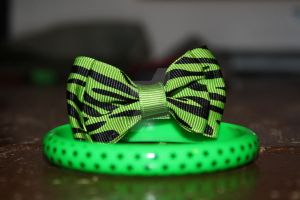 Green Bow and Star Bracelet by ThatFreakYouHate
