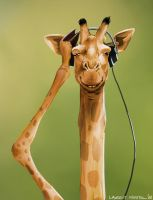 Giraffe with headphones by lkermel