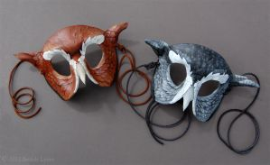 Eastern Screech Owl Leather Masks by windfalcon