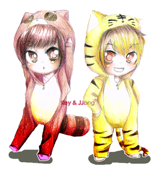 SHINee:Racoon+Tiger by manisaurus