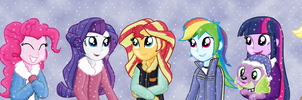 HuMane7 and Spike are enjoying the snowy weather by Fluttershy626