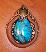 Seed Pod Pendant with Jasper 2 by MandarinMoon