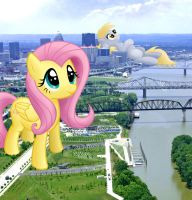 Giant Fluttershy and Derpy Visit Louisville by FlutterbatIsMagic