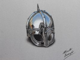 Chrome medieval helmet DRAWING by marcellobarenghi