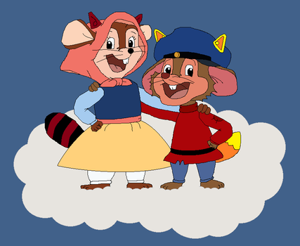 Raccoon Tanya and Fox Fievel stand on a Cloud by GuiherCharly