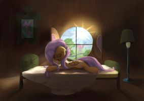 Fluttershy - early morning (retry) by ScootieBloom