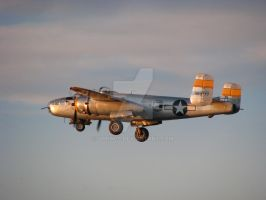 B-25J Sunset Takeoff by Qphacs