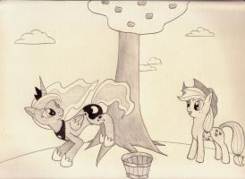 Time to buck some apples, princess! by Silverweed91