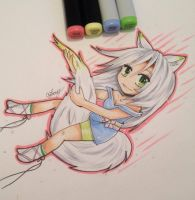 Copic kitty by SweetNLoewy