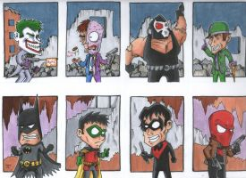Batman Family vs The Big Bads by johnnyism