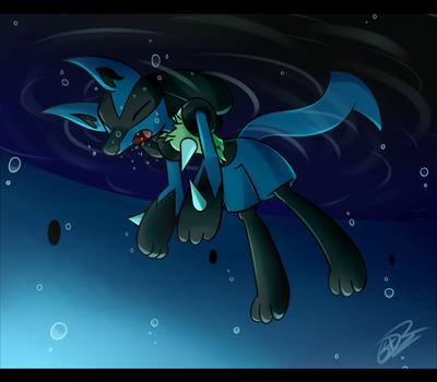 Comm: Lucario ...doesn't swim by UWDR-64