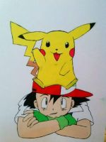 ash and Pikachu  by Sorioffantasy