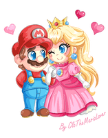 .:Pixel Art: MarioxPeach:. by CloTheMarioLover
