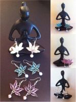 Quilled Lotus Earrings with Pearls by SpiralArtisan