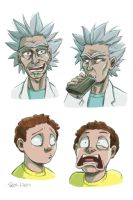 Rick and Morty Sketches by Taylor-the-Weird
