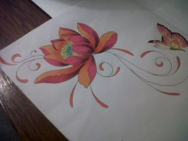 lotus swirl tattoo design by tattoosuzette