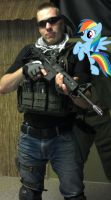 Airsofting With Rainbow Dash by Neutralbrony