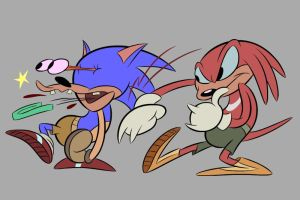 Knuckles vs Sonic by LooneyLion
