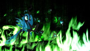 Queen Chrysalis (Wallpaper) by Hardii