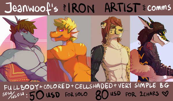 IRON ARTIST commissions! by jeanwoof