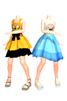 MMD Adventure Time with Finn and Jake Dresses DL by 2234083174